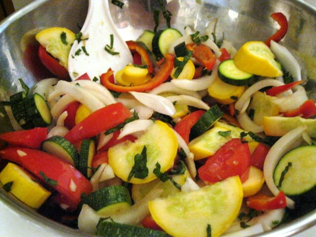 Roasted Summer Vegetable Pasta with Goat Cheese