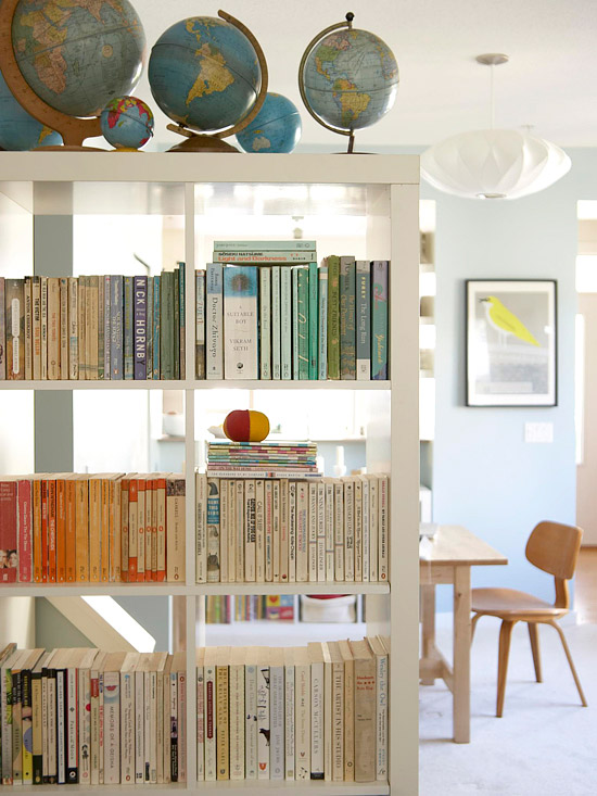 globes on bookcases
