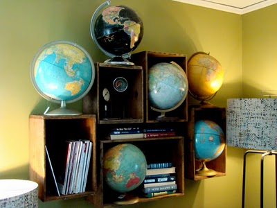globes in shelves