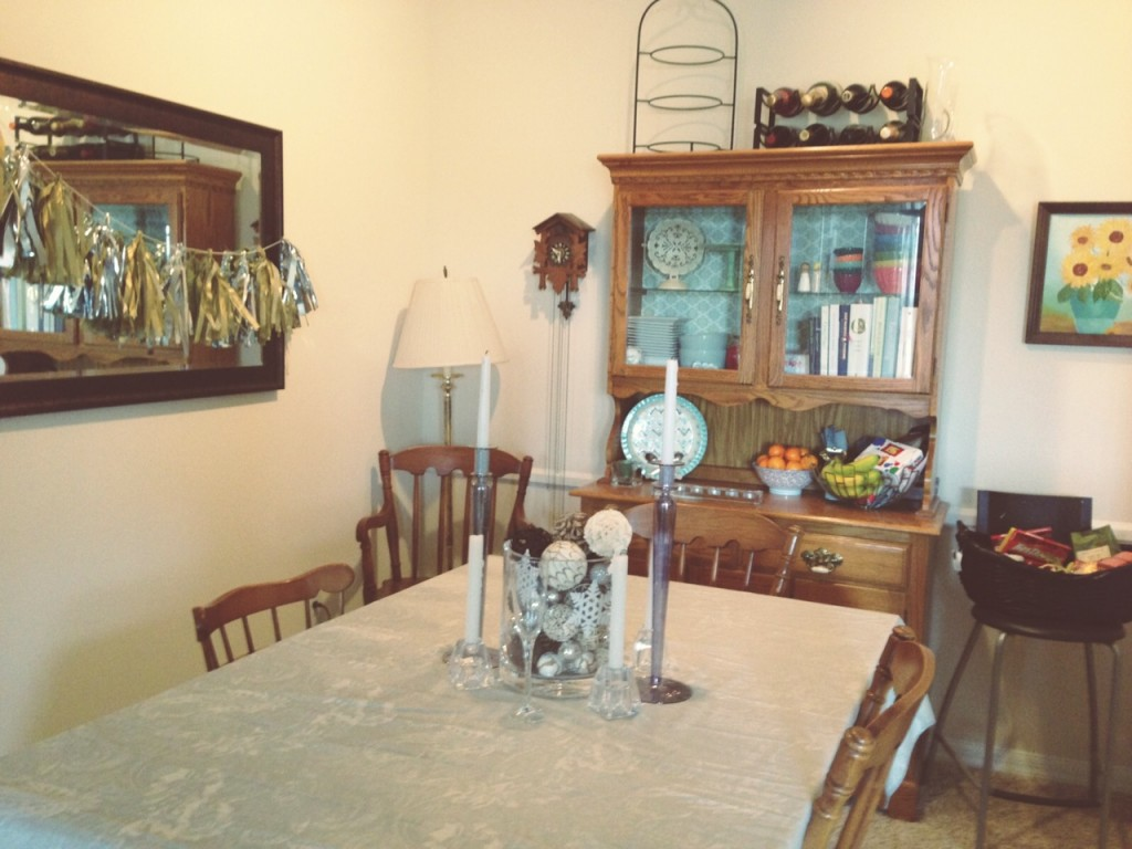Our Dining Room Is To The Left Of Kitchen I Put Scrapbook Paper In Back My Hutch Give It Some Color Grandmother Painted That Sunflower