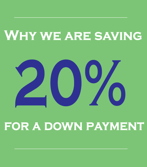 Why we are saving 20% for a down payment